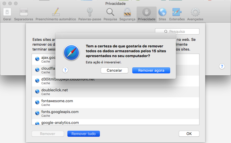 Limpar a cache no safari - mac os x